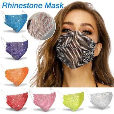 Crystal Rhinestone Decorative Mask Luxury Diamond Face Mask Elastic Adult Masks Rhinestone Mask