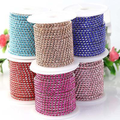 Rhinestone Chain Trim Ribbon Crystal Glass Clear Sparkle Diamante DIY Decor
