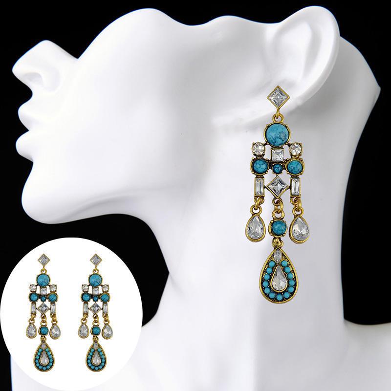 Turquoise Antique Vintage Style Crystal Diamante Hook Drop Chandelier Earrings