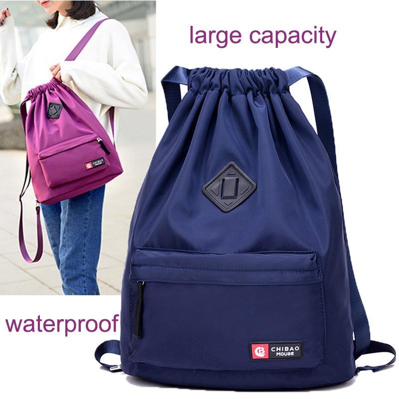 Casual Drawstring Backpack Waterproof High Capacity School Daypack Mummy Bag
