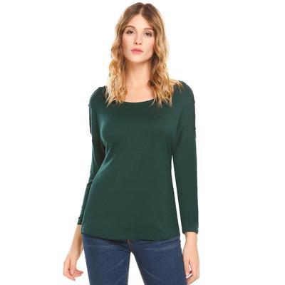 3762850bd02 Женщины случайный O-шеи падения плечо длинный рукав кнопку твердых  сексуальная блузка футболку вершины