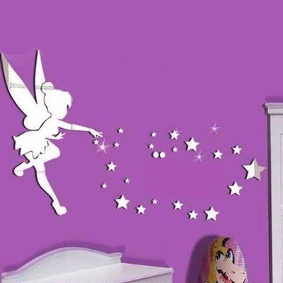 Acryl 3d Spiegel Wand Aufkleber Tinkerbell Fee Prinzessin Sterne
