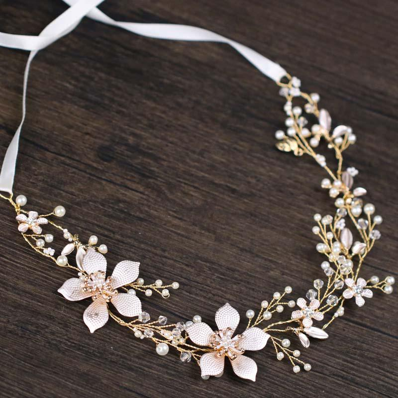 Golden Leaf Wired Crystal Rhinestone Pearls Flower Wedding Hair accessories Vine