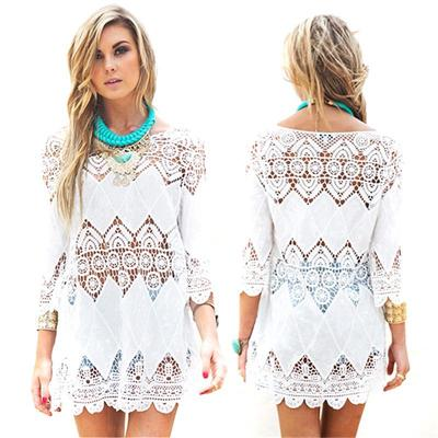 Hanyu Women Fashion Openwork Crochet Appliques Sunscreen Beach Smock