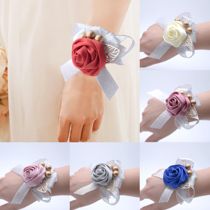 Charm Hand Rose Flower Prom Bouquet Bridesmaids Bride Wrist Flower Wedding Party