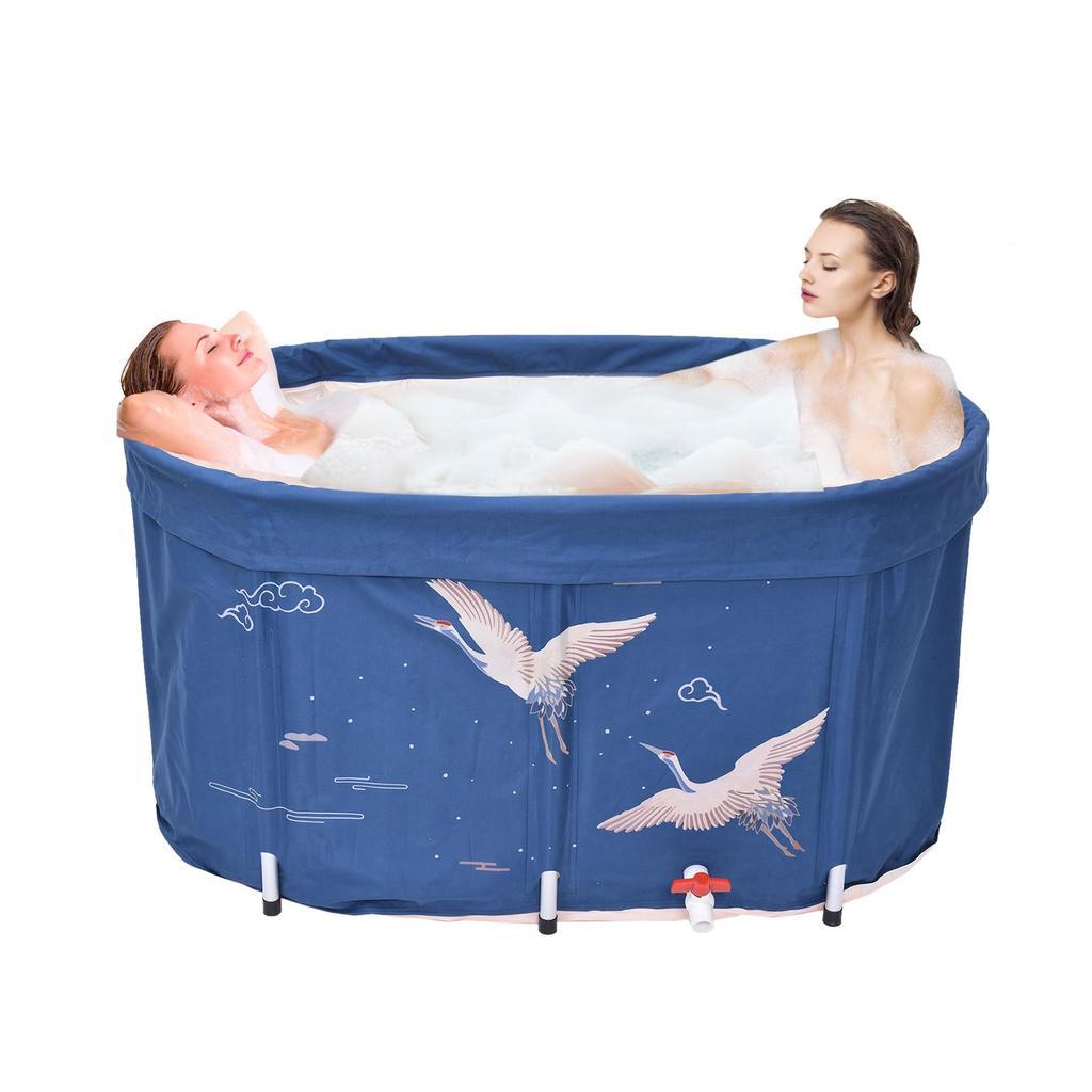 Folding Bathtub With Cover,Non-inflatable Insulated SPA Bath Tub,Portable Sauna Steam Bathtub Adult Bath Bucket,Household Freestanding Thick Plastic Folding Bath Tub for Adults