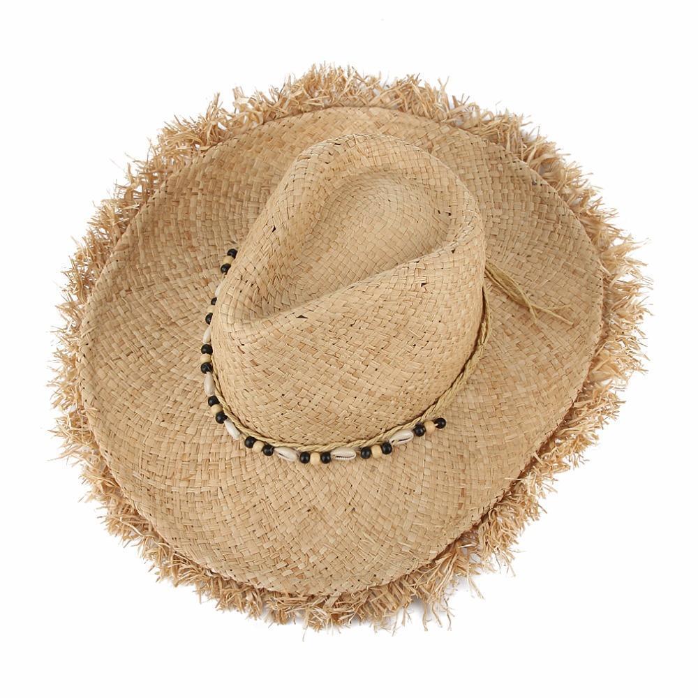 Sombreros de rafia Vintage sombreros de paja flexible ancho sol ... d8f5f0c8eed