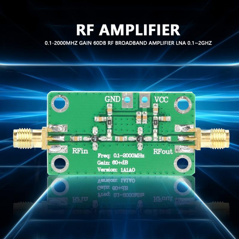 0.1-2000MHz Gain 60dB RF Broadband Amplifier Module DC 6-12V LNA Board