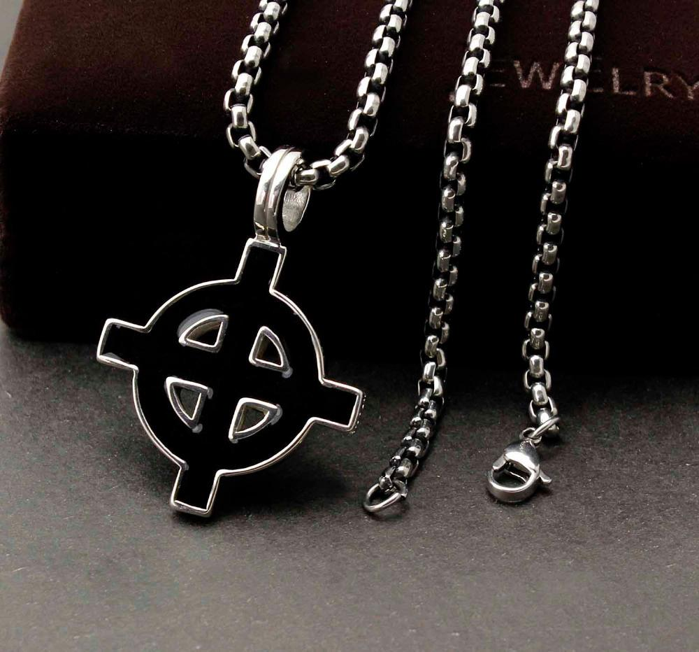 Mens Boys Unisex Leather Necklace Silver Colour Cross Viking Lucky Knot Pendant