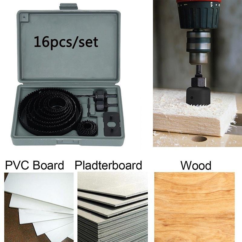 16Pcs 3//4/'/' 5/'/' Cutting Hole Saw Drill Bit Kit Wood Plastic Sheet Metal W//Case