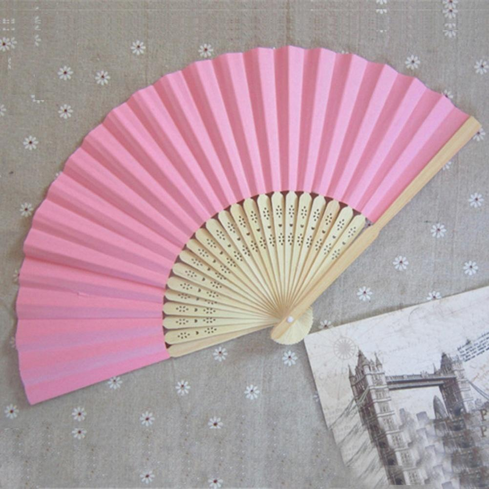 Summer Chinese Hand Paper Fans Pocket Folding Bamboo Fan Wedding ...