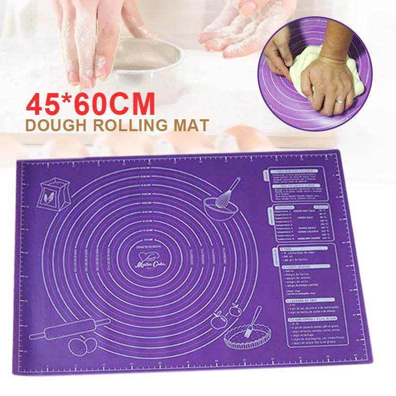 Kitchen Tools Large Non Stick Silicone Dough Rolling Baking Pastry Mat 45*60cm