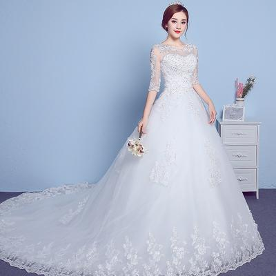 21cf08874762a Wedding Dress In The Sleeves Round Neck Trailing 2019 Simple Lace Pregnant  Women Wedding Dress