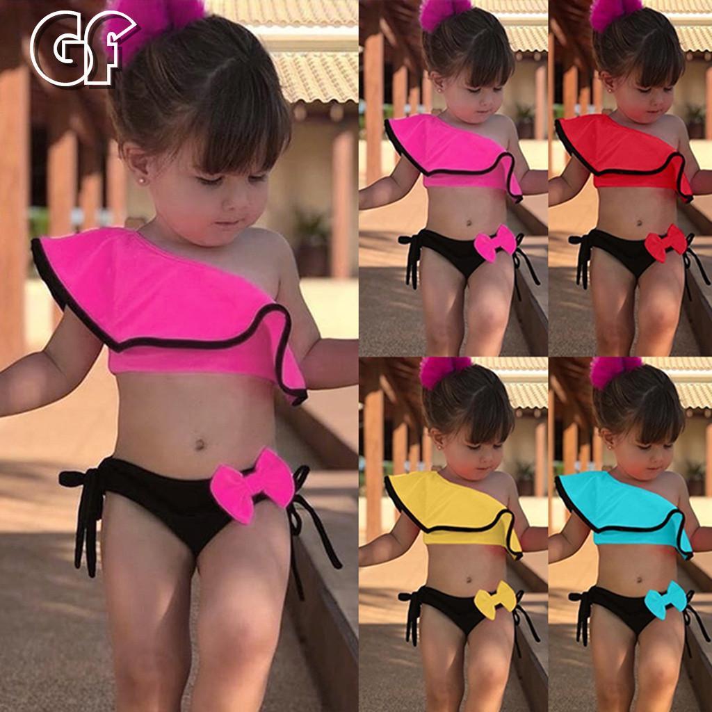 2Pcs Summer Toddler Kids Baby Girls Solid Ruffle Swimwear Swimsuit Bikini Outfit