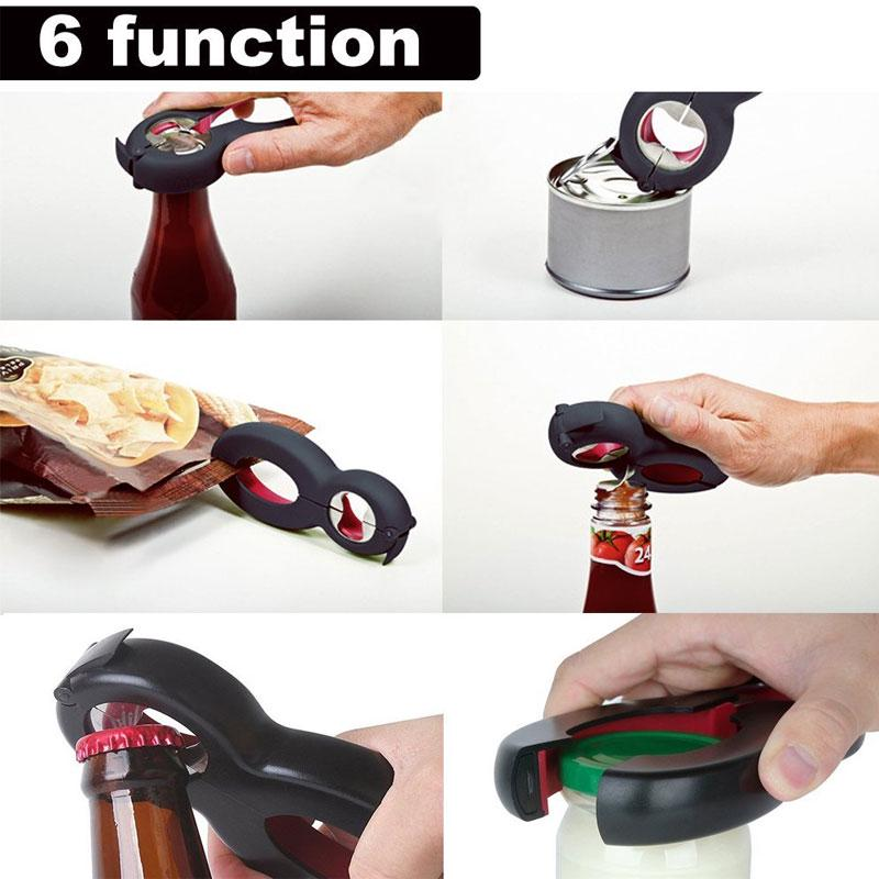 6in1 Multi Function Bottle Opener,All in 1 Twist Gripper Jar Beer Lid Can Opener