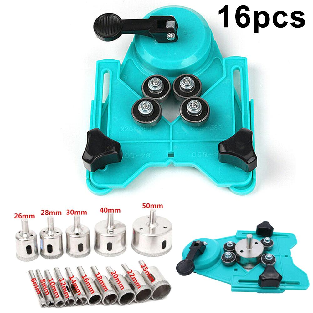 Adjustable Ceramic Tile Hole Saw Guide Openings Locator 6 to 50mm Drill Bits Set
