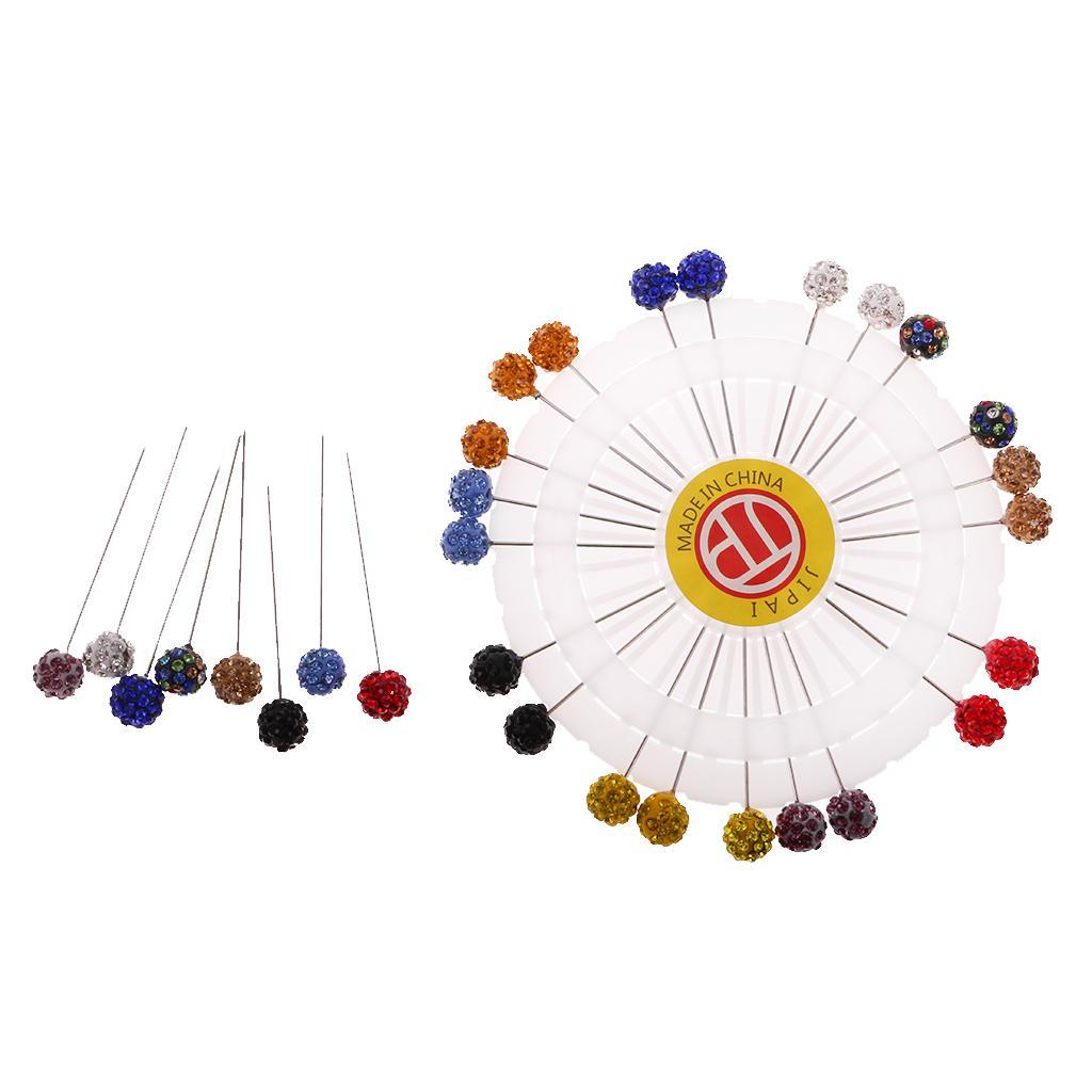 30pcs Colorful Crystal Hijab Scarf Pins Tailor Sewing Snag-Free Pins Brooch Hijab Pins with Safty Caps