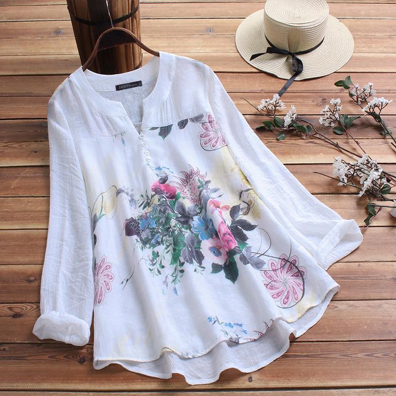 ZANZEA Damen Floral Printed Longsleeve Rollkragen Slim Fitted Tops T Shirt Bluse