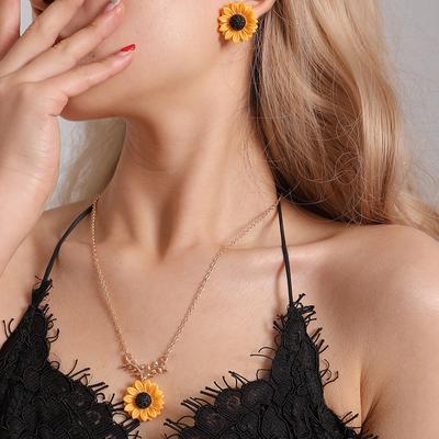 3PCS Women Earrings Women  Necklace Leaf Sunflowers Clavicle Flower Jewelry Leaf Branch Cute