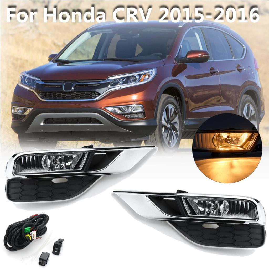 Pair Front Bumper Fog Light Lampgrilles With Harness For Honda Crv Wiring 1 Of 10