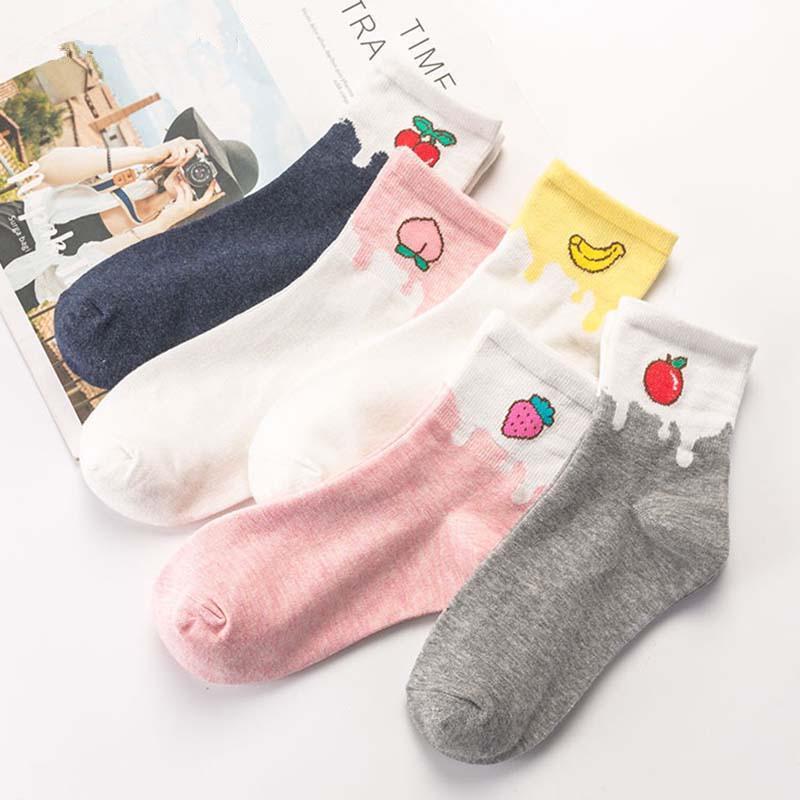 Women Casual Funny Socks Cotton Print Long Sock Kawaii Unisex Crew Cartoons Sock