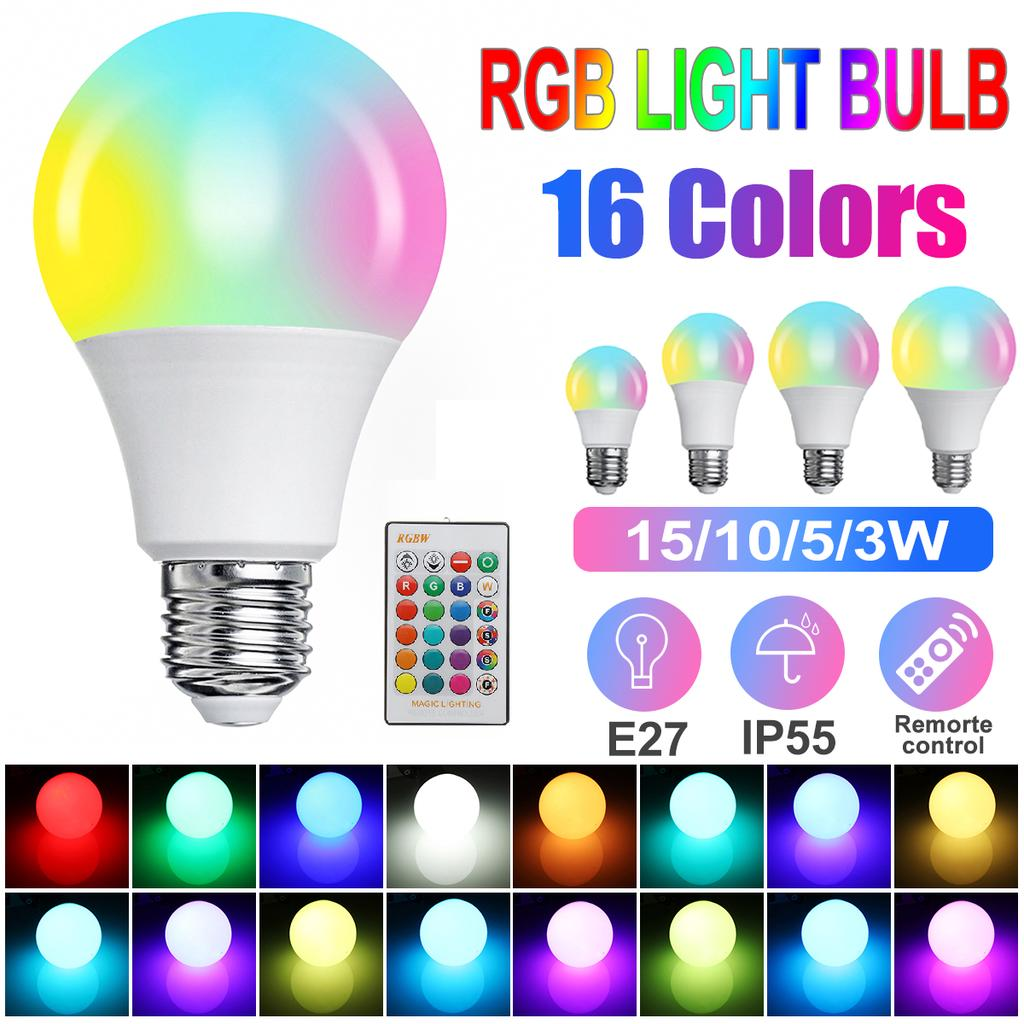 RGB LED Bulb E27 5W 10W 15W RGBW 16 Color Changing Party Disco Lamp With Remote