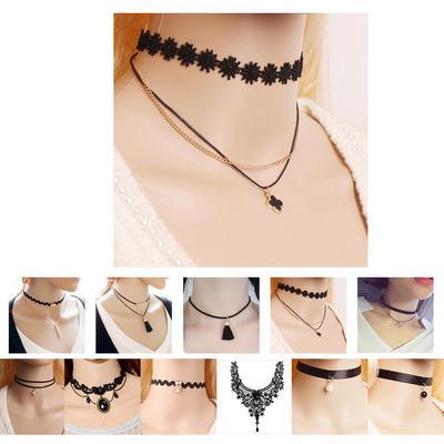 Lady Women Metal Multilayer Chain Tassels Choker Bib False Collar Long Necklace