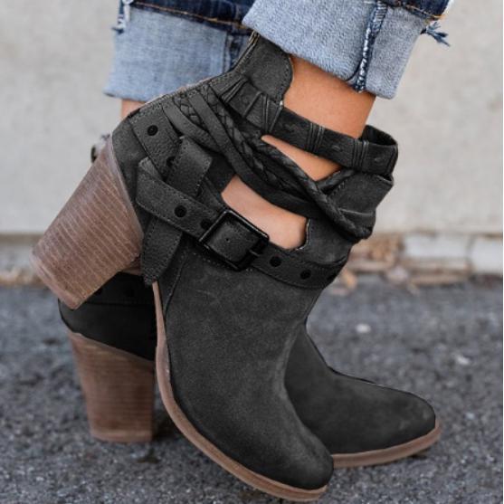 311de1d1 Moda mujer botas tacones zapatos para mujer remache hebilla diario ...