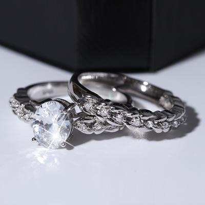 Exquisite Floral Ring Set Lucky Vine Leaf Cocktail Jewelry