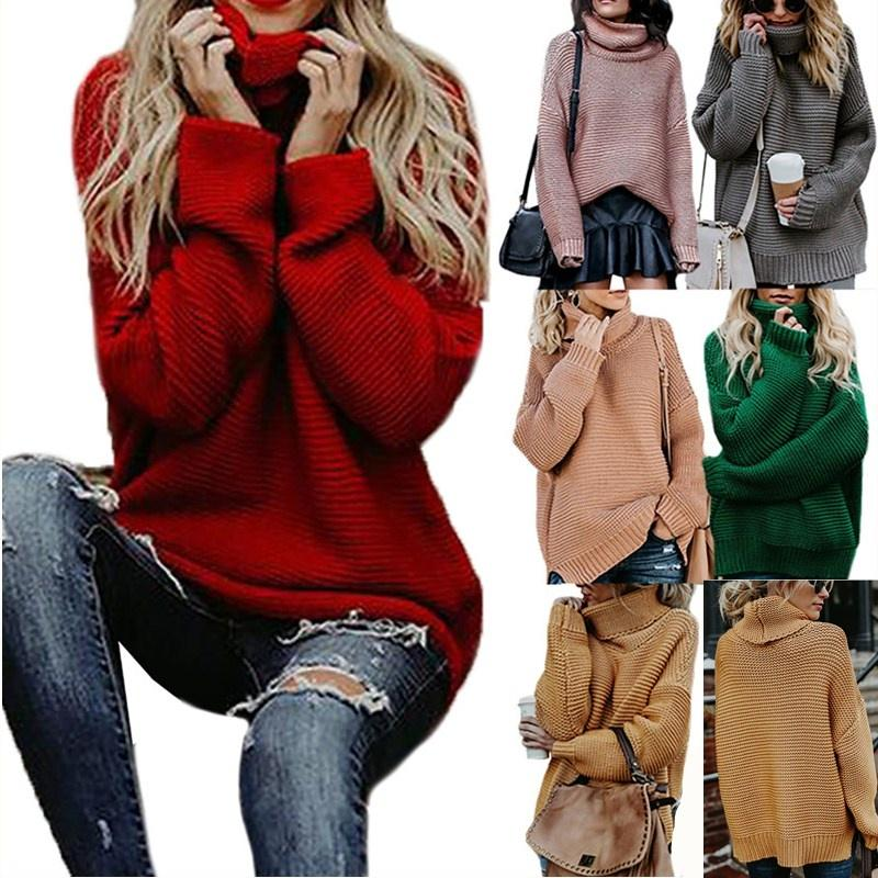 Womens Turtleneck Sweaters Long Sleeve Chunky Knitted Fall Pullover Plus Size Tops