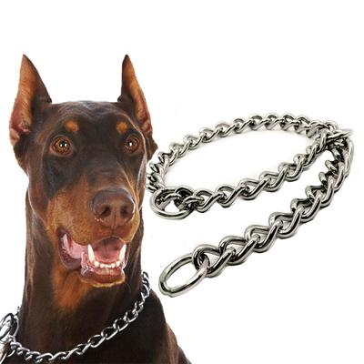 Dog Walking Leash Leather Handle Training Doberman Lead Stainless Steel Chain