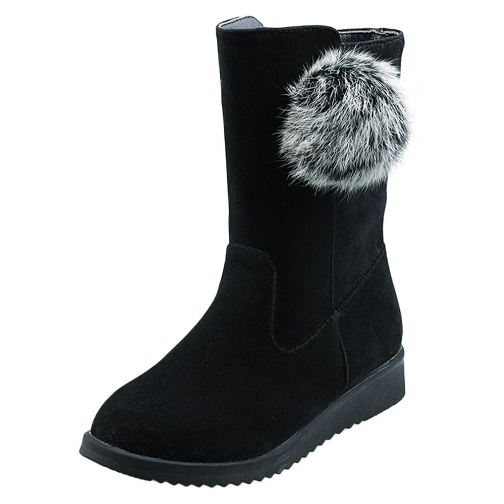 ChainSee Women Snow Boots Hairball Booties Round Toe Square Heel Shoes
