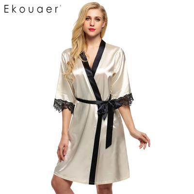 63e983ace2 Women Kimono Robe Knee Sexy Bathrobe Length Lingerie Sleepwear Short Satin Lace  Nightwear