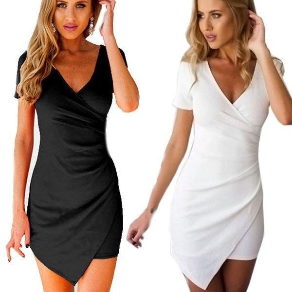 2017夏款时尚职业白领包臀裙 不对称V领修身气质大码糖果色连衣裙