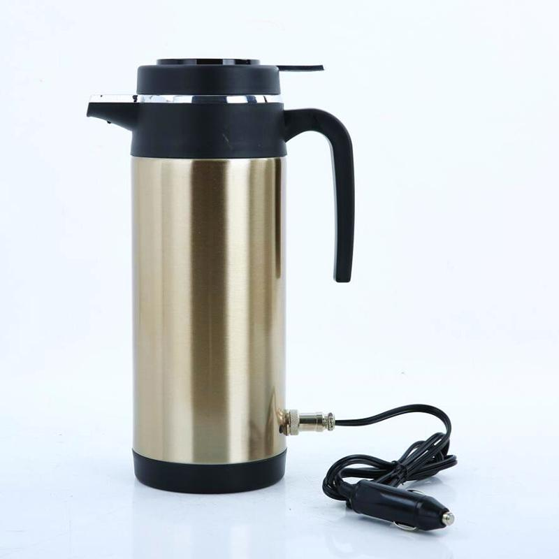 12//24V 1200ml Car Electric Heated Mug Water Kettle Steel Cup Car Heating Kettle