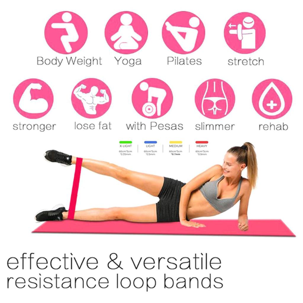 5 Colors Yoga Resistance Rubber Bands Elastic Loop Gym Fitness Equipment Workout