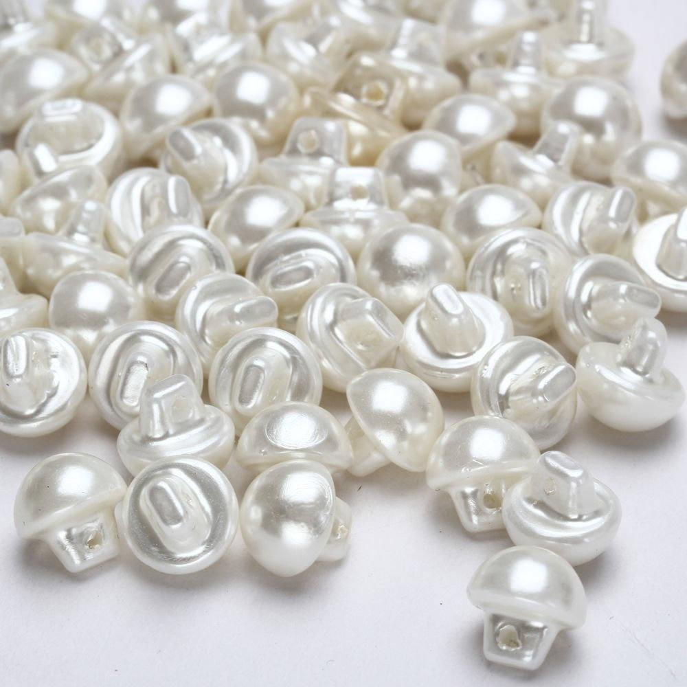 5 X 10MM WHITE PEARL SHANK BUTTONS BEADS EMBELLISHMENTS JEWELLERY CRAFT