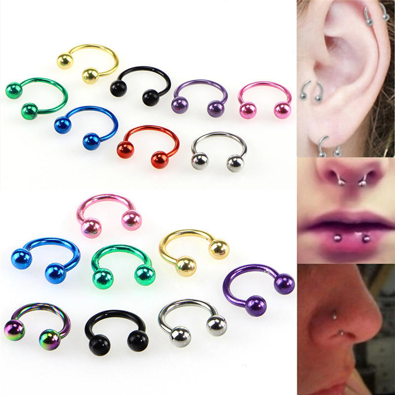 10Pcs//lots Body Piercing Eyebrow Nose Ring Barbell Tongue Horseshoe Jewelry VQ