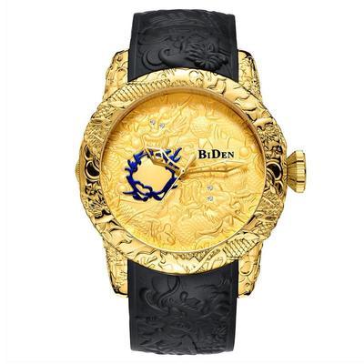 4cca479fb9a9 Hombres de lujo fresco ver dragón patrón láser grabado deportes reloj de  pulsera de cuarzo relojes