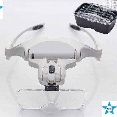 Headband Magnifier Glasses LED Magnifying Loupe Head Mount Magnifier