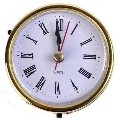 "2-1/2"" (65mm) Quartz Clock Fit-Up/Insert Gold Trim Roman Numeral White Face"