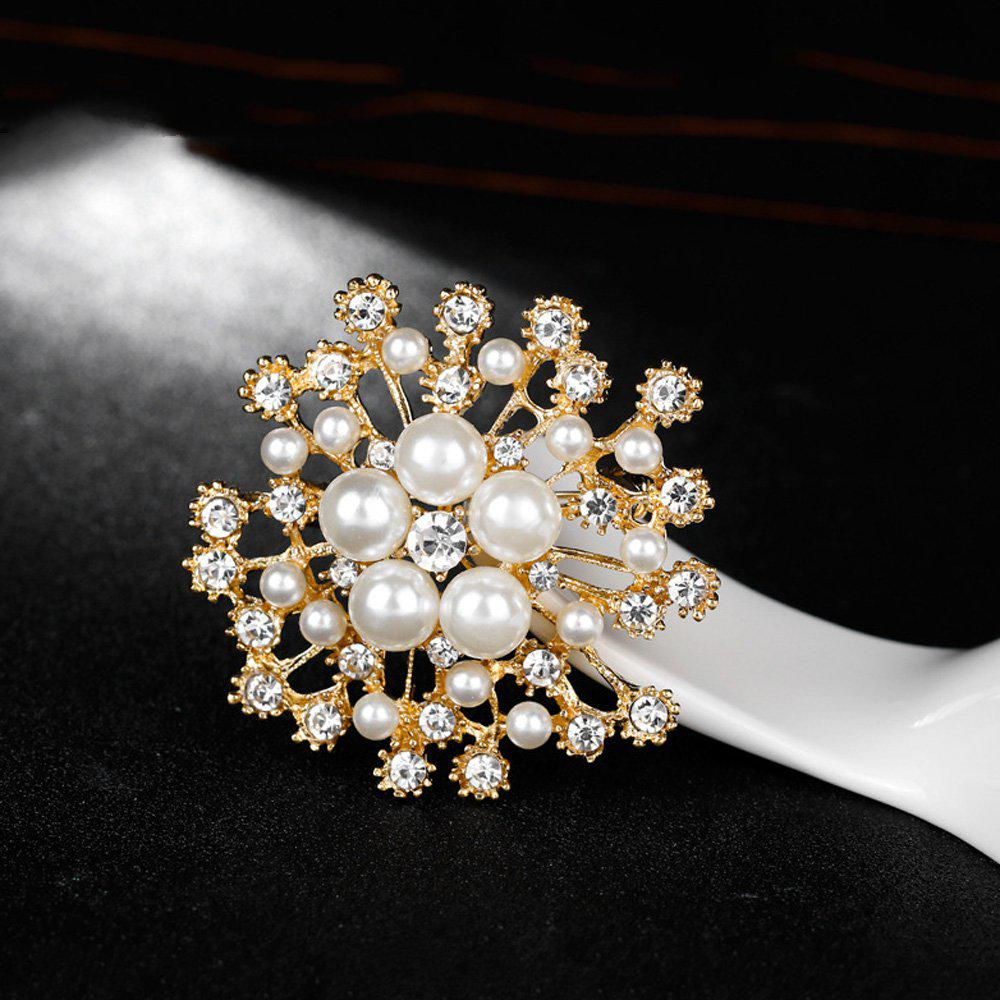 Large Vintage Style Gold Diamante Pearl Broach Crystal Butterfly BROOCH Pin