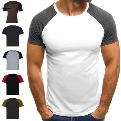 Men Short Sleeve Casual T-Shirt Muscle Tops Basic Tee 4XL Colorful Blouse Slim