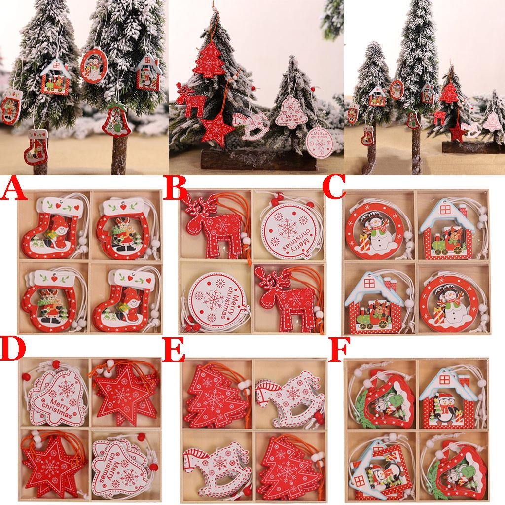 6 Pcs Merry Christmas Decorations Wooden Hollow Ornament Hanging Tags Decor YU