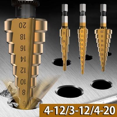 3pcs HSS Metric 1/4 Hex Shank Titanium Coated Step Drill Bit 4-12 4-20 3-12 Drilling Power Tools Metal High Speed Steel Wood Hole Cutter Cone Drill