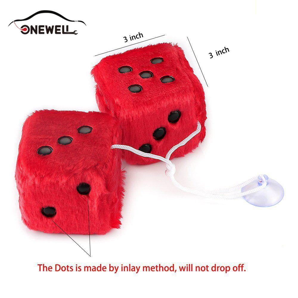 Yellow Mrcartool 3 inch Pair of Retro Square Mirror Hanging Dice Couple Fuzzy Plush Dice with Dots for Car Interior Ornament Decoration