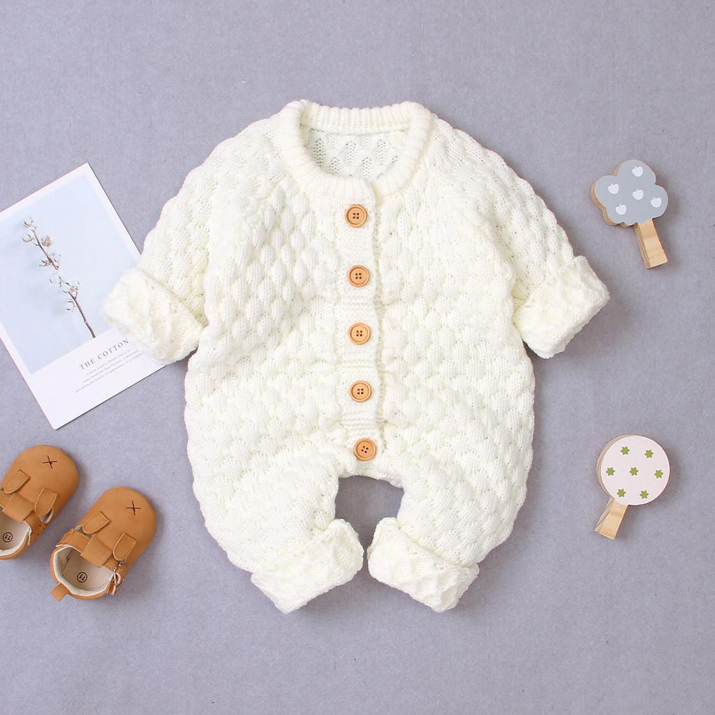 UK Newborn Baby Boy Girl Button Sweater Knitted Jumpsuit Romper Warm Outfits FS