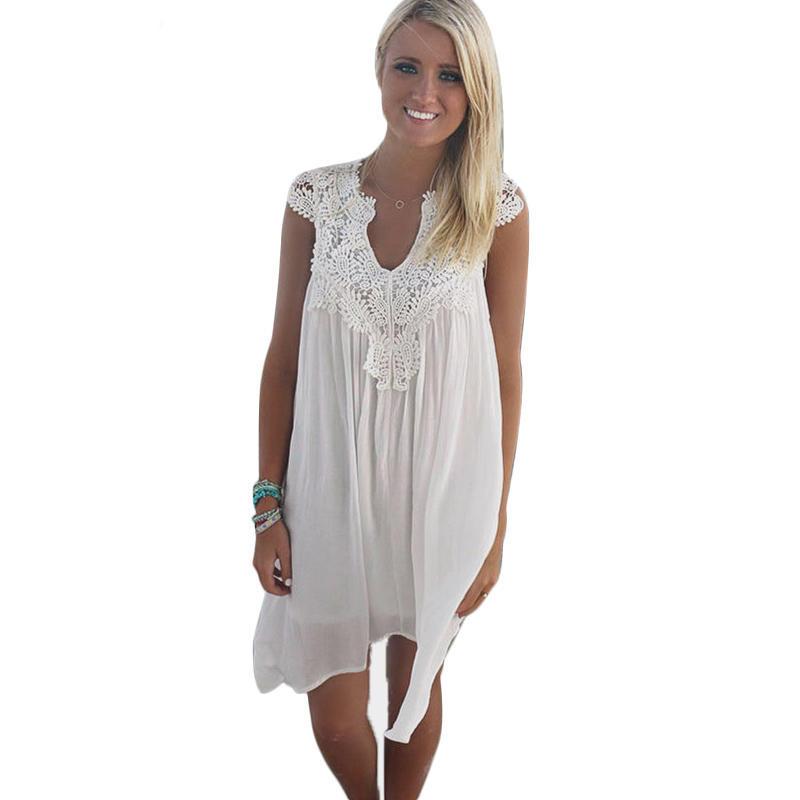新版 夏季蕾丝拼接雪纺宽松连衣裙