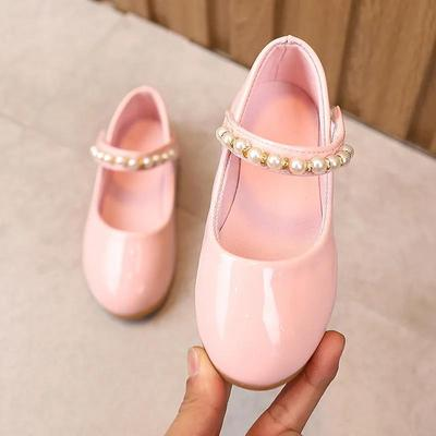 Girl's Soft Soled Beads Decoration Breathable Single Shoes Girls' Non Slip Solid Color Princess Shoes
