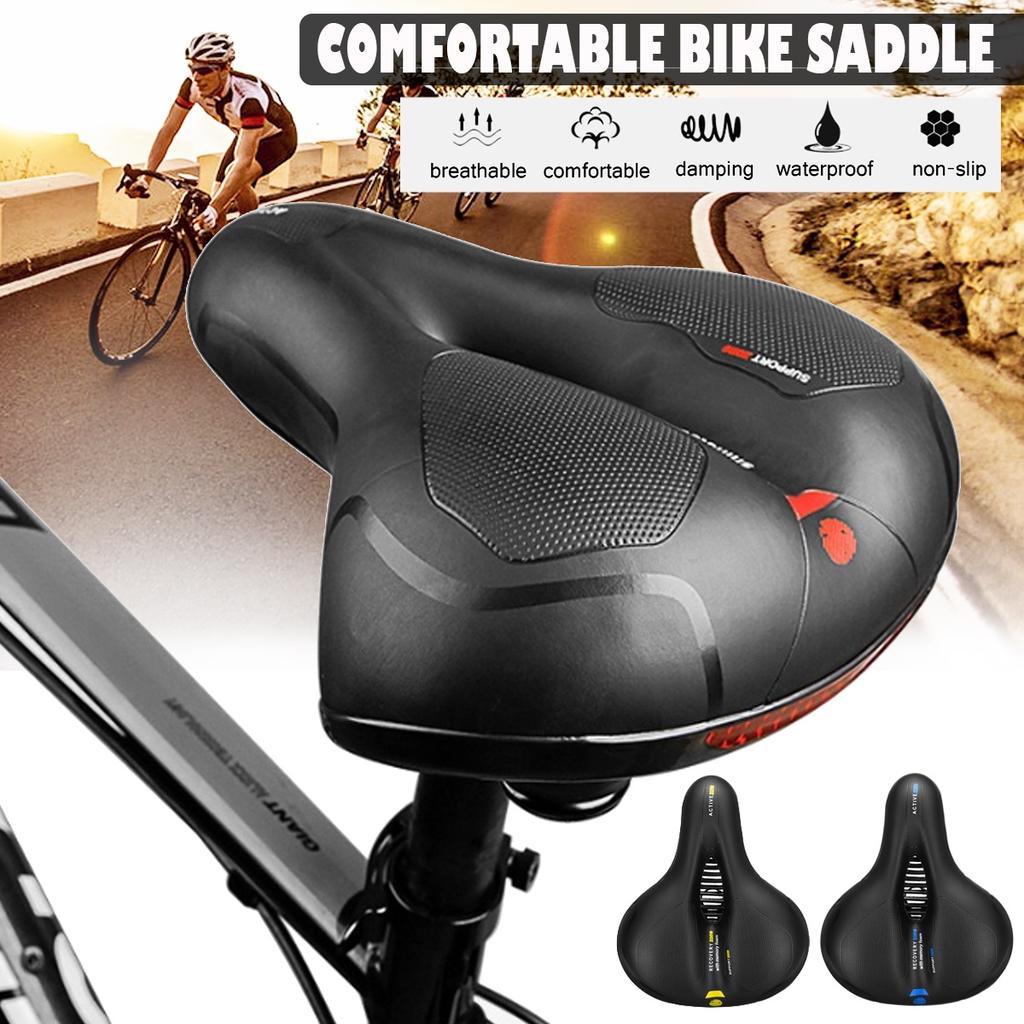 Ladies Leather Gel Bike Bicycle Cycling Gel Pad Soft Comfort Seat Saddle Mens